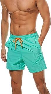 TENMET Men's Beach Shorts Swim Trunk Mesh Lining Quick Dry Side Pockets Casual Surf Yoga Water Jogging Training Lightweight