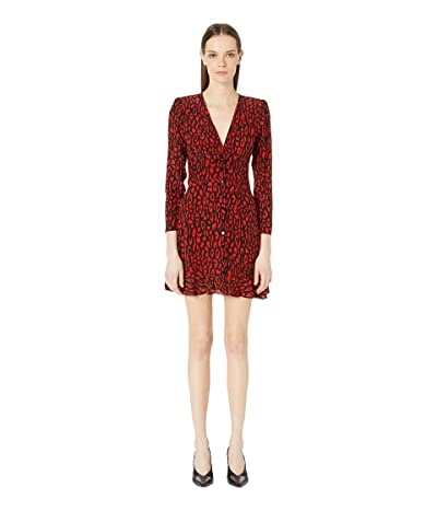 The Kooples Leopard Print Dress (Black/Red) Women