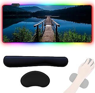 HUAXUN RGB Gaming-Mauspad XXL, mit Handgelenk-Halterung, LED-Maus-Pad, rutschfeste Gummi-Unterseite, LED-Gaming-Mauspad fü...