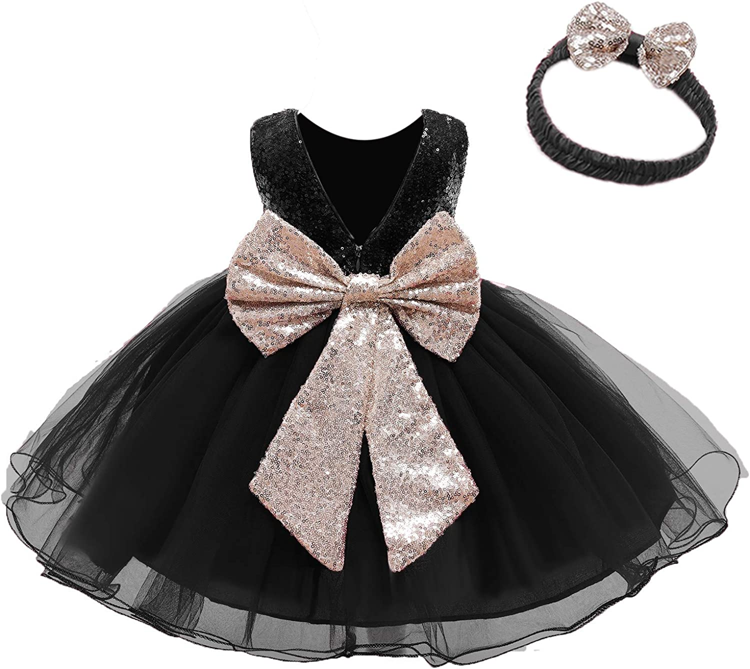 12M-6T Baby Dress Sequins Bowknot Flower Girl Dresses Lace Pageant Party Wedding Tutu Gown: Clothing, Shoes & Jewelry