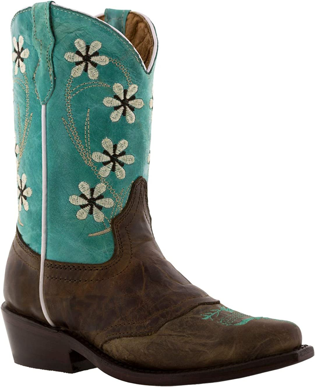 Veretta Boots - low-pricing Girl's Turquoise Brown Floral Challenge the lowest price of Japan Embroidered Cowg