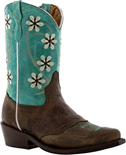 Girl's Turquoise & Brown Floral Embroidered Cowgirl Boots Snip 1 Youth