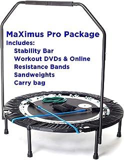 MaXimus PRO składana trampolina   nr 1 mini trampolina do wnętrz z drążkiem mocującym dla dorosłych   najlepsze studio fit...