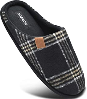 COFACE Zapatillas de Estar en Casa Hombre Tartán Invierno Forro de Cálido Pantuflas Alta Densidad Espuma de Memoria Zapato...