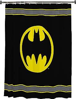 Warner Bros Batman Logo Microfiber Shower Curtain, 72-Inch by 72-Inch