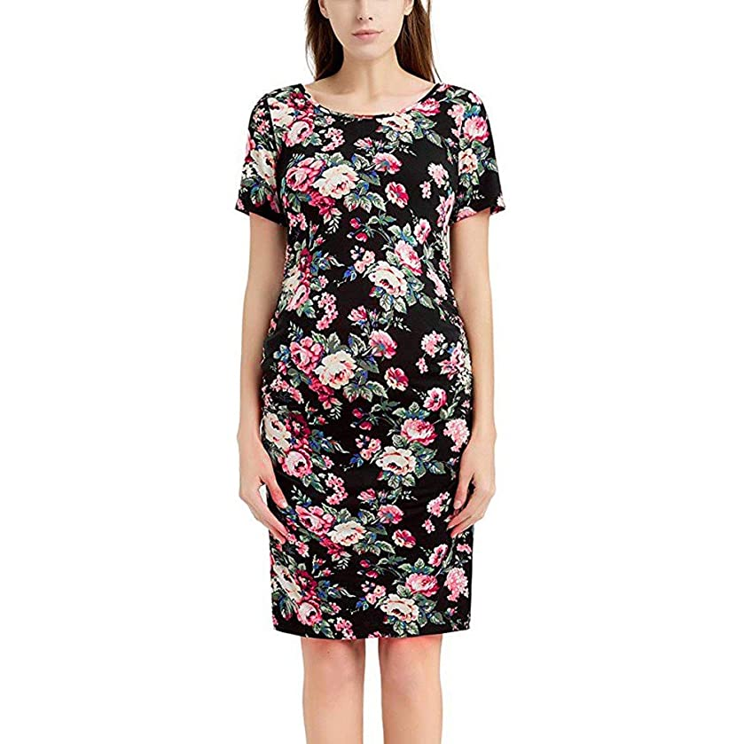 The Best Easter Gift!!!Aries Esther Women's Pregnancy Floral Print Dress Maternity Short Sleeve Sundress Clothing