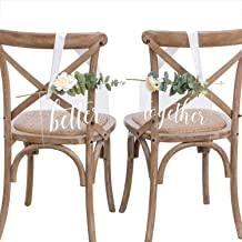 Ling's moment Handmade Acrylic Wedding Chair Signs Better and Together Chair Signs Wedding Chair Decorations