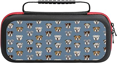 $26 » English Bulldog Faces Cute Dog Face Cute Design Case Compatible with Switch Case Protective Carry Bag Hard Shell Storage B...
