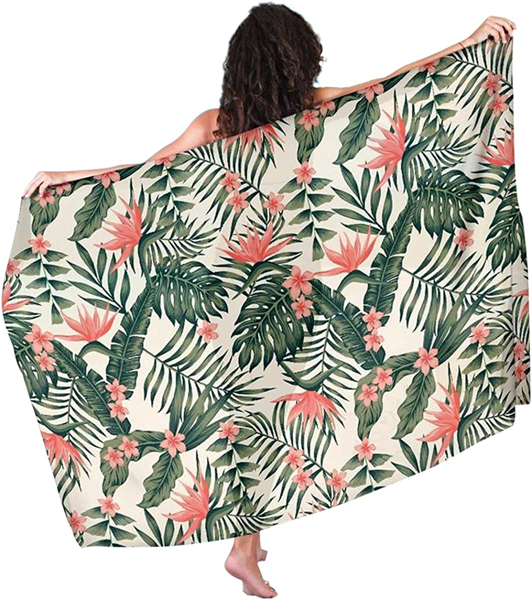 Tropical Flower Palm Leaves Hawaiian Sarong Pareo Swimwear Cover Ups for Women Beach Wrap