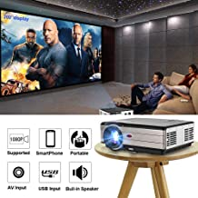 EUG 2019 LCD Digital Multimedia Video Projector 1080P Home Theater 4200 Lumens 1280x800 Native LED Projector Outside Entertainment Dual HDMI USB Compatible with PS4 Fire TV Stick Roku DVD Android Box