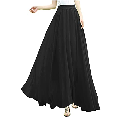 e0f918611d v28 Women Full/Ankle Length Elastic Pleated Retro Maxi Chiffon Long Skirt