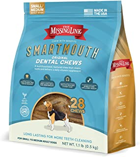 Missing Link Smartmouth Dental Chew Reduces Plaque and Tartar + Supports Hips, Joints, Skin, Coat and Overall Health