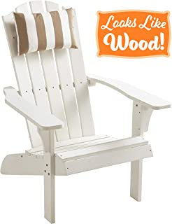 PolyTEAK Element Faux Wood Poly Adirondack Chair with Detachable Head Pillow, White | Adult-Size, Weather Resistant, Made from Special Formulated Poly Lumber Plastic