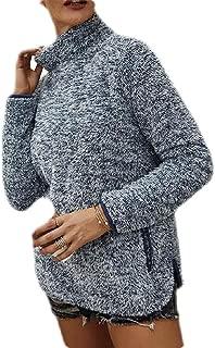 Macondoo Women's Fluffy Turtle Neck Warm Fleece Winter Pullover Sweatshirt