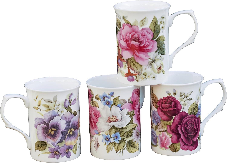 Grace Teaware Bone China Coffee Tea Assorted At the price of surprise Set 9-Ounce Mugs Dedication o