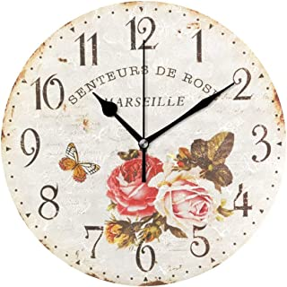 Wamika Round Wall Clock Rose Flowers Vintage Wooden Butterfly Clocks Silent Non Ticking Wall Decorative Rustic Country Style Wooden Decor 10 Inch Battery Operated Quartz Quiet Clock for Home Desk