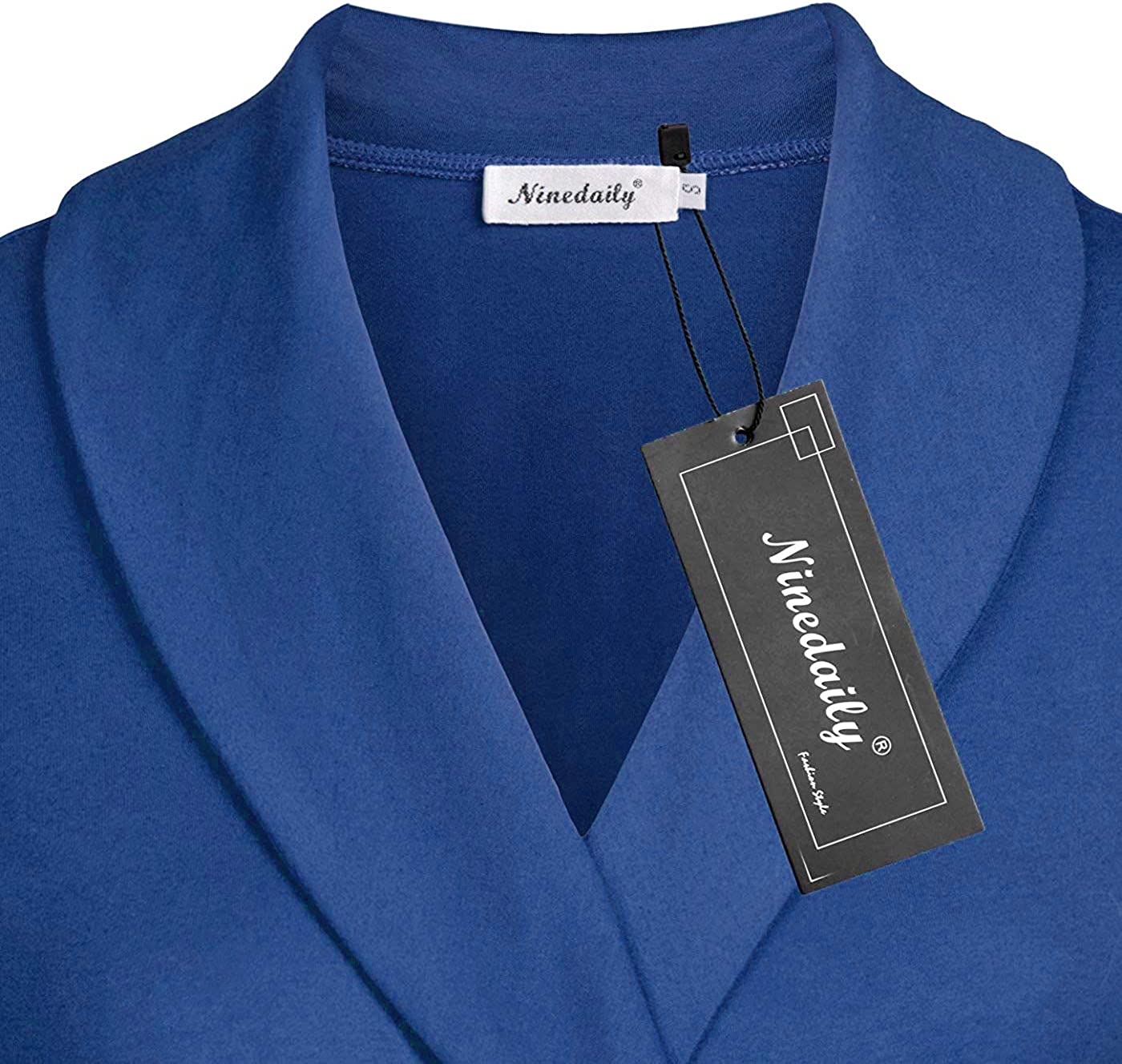 Ninedaily Womens Business Tops Lapel V Neck Slimming Long Sleeve Office Blouse