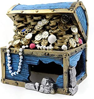 WDRL Aquarium Decoration Accessories, Blue Treasure Chest Fish Tank Creative Underwater Landscape, Eco-Friendly Aquarium Ornament for Freshwater Saltwater