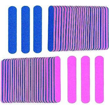 KISEER Mini Nail Files Bulk, 100 Pcs Disposable Double Sided Emery Boards Travel Size for Men, Women, Kids (2 Inch)