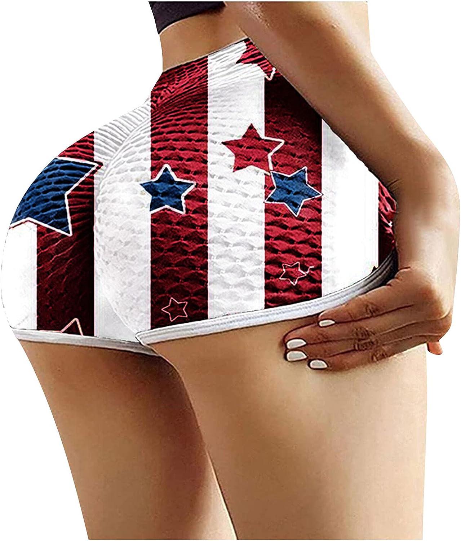 Aotifu Elastic High Waist Short Yoga Pants for Women Casual Flag Pattern Butterfly print Leggings Sport Running Clothes