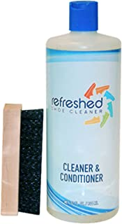 Refreshed Shoe Cleaner & Conditioner   Suede Leather Canvas Nubuck   Large 32 oz Refill + Brush Cleaning Kit