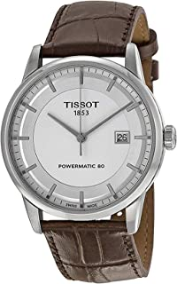 Tissot Luxury Powermatic 80 Automatic Silver Dial Brown Leather Mens Watch T0864071603100