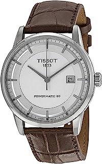 ساعة لوكسوري باورماتك 80 الاوتوماتيكية بمينا فضي وسوار من الجلد البني للرجال من تيسوت - T0864071603100