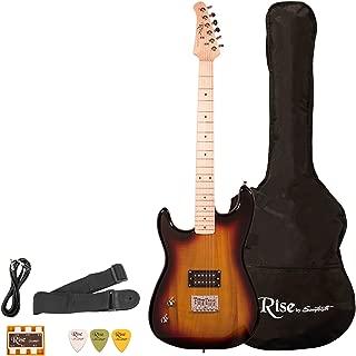 Sawtooth ST-RISE-ST-LH-3/4-SB Rise Left-Handed 3/4 Size Student Electric Guitar Bundle, Sunburst