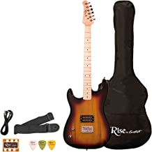 Sawtooth ST-RISE-ST-LH-3/4-SB Rise Left-Handed 3/4 Size Student Electric Guitar Bundle, Sunburst