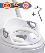 Potty Training Seat for Toddler Boys & Girls, Ergonomic Portable Baby Toilet Shape with Non-Slip Handles, Cushioned Seat for Kids Comfort, Splash Guard & Backrest Toilet Seat, Includes Free Brush