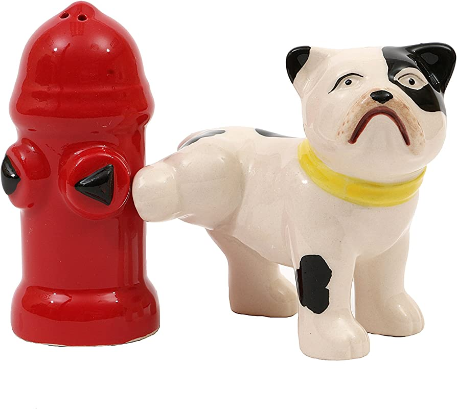 Creative Co Op Hand Painted Dog Fire Hydrant Shaped Salt Pepper Shakers 2 Pieces