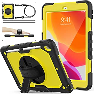SEYMAC stock iPad 7th Generation Case, Three Layer Hybrid Drop Protection Case with [360 Rotating Stand] Hand Strap &[Stylus Pencil Holder] for 2019 New iPad 7 Generation 10.2 Inch (Yellow+Black)