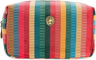Cosmetic Bag Square Small Velvet Jacquard Stripe Multi 20x10x12cm