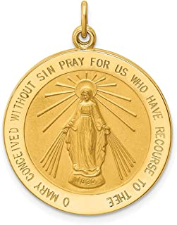 Lex & Lu 14k Yellow Gold Solid Round Miraculous Medal Pendant LALXR1766