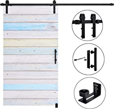 EaseLife 8 FT Heavy Duty Sliding Barn Door Hardware Track Kit Whole Set Include 12'' Handle & 6'' Latch Hook & Floor Guide,Sturdy,Slide Quiet,Fit 40