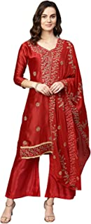 Ishin Women's Silk Blend Red Embroidered A-Line Kurta Palazzo Dupatta Set
