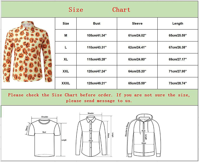 FORUU Halloween Long Sleeve Shirts for Men 2021,Men's Fall Casual Pumpkin Printed Button Up Shirts Elegant Dress Shirts