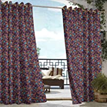 DILITECK Drape for Pergola Curtain Leaves Vibrant Branches with Curves in Autumn Season Wildlife Forest Fall Design Grommet Curtains for Bedroom W84 xL72 Eggplant Orange Blue