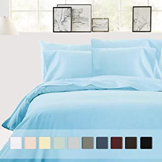 California Design Den Pure Cotton Duvet Cover King - 400 Thread Count Blue 3 Piece Bedding Set, Washable Long Staple Cotton Comforter Cover and Two Pillow Shams, with Button Closure and Corner Ties