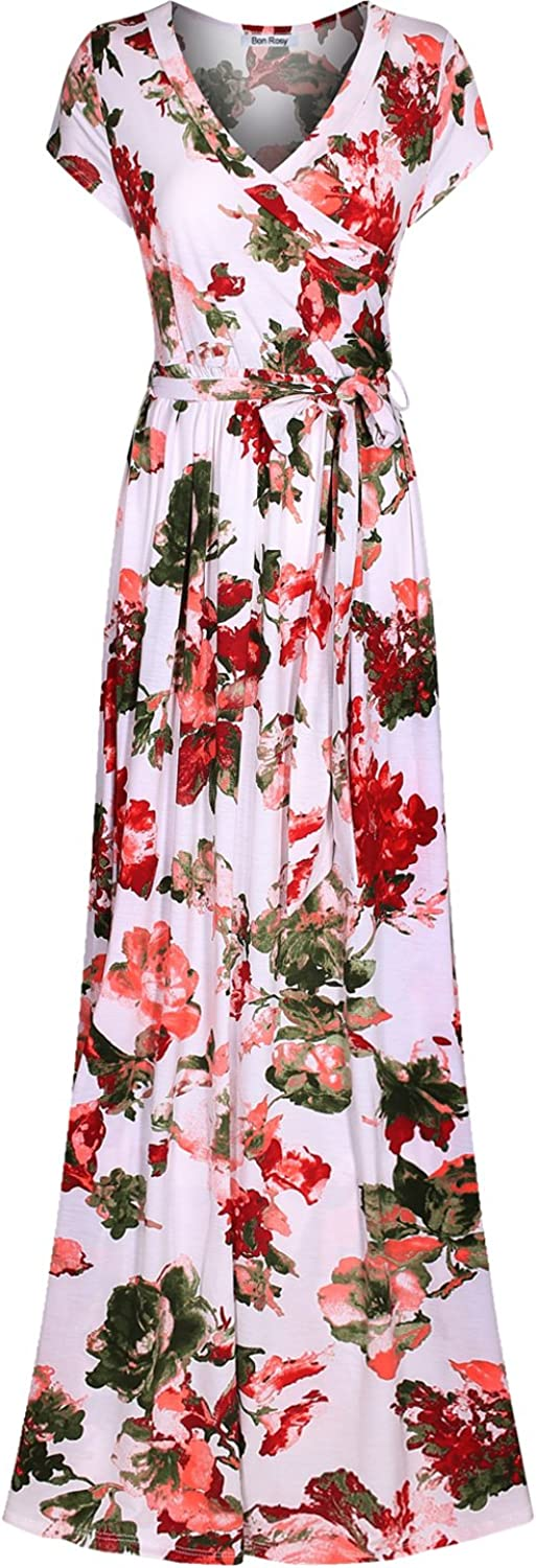 Bon Rosy Women's Short Sleeve VNeck Floral Maxi Bohemian Wrap Dress