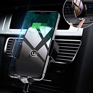 USAMS Qi Handy Halterung für Auto, Wireless Charger Kfz Handyhalterung Lüftung, Induktion Autohalterung Induktiv Ladestation für iPhone XS Max/XR/X/8 Plus, Samsung Galaxy S9+/S8/S7/S6 Edge/Note 8/5