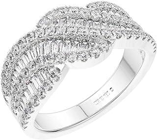 F/VS, anillo de 1,51 quilates con diamantes de corte brillante y redondo, en oro blanco