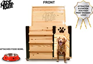 Smartone Imported Wooden German Outdoor Pet Dog House Suitable for All Bread Dogs (Black and Wooden Brown, L 45 X W 33 X H 40 Inches, Large)
