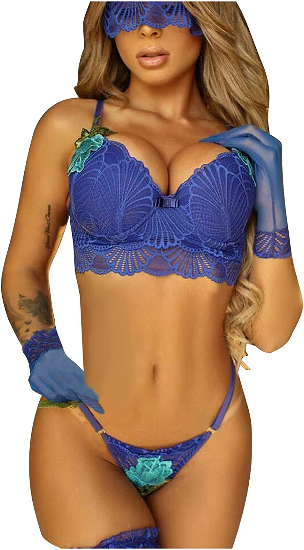 VonVonCo Sexy Lingerie for Women Ladies Bra and Thong Gloves Teddy Eyelash Lace Three-Point Sexy Set 5-Piece Set