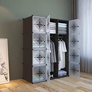 Lukzer 12 Cube/Door Multi-Purpose Wardrobe Storage Rack Closet Organizer for Clothes Toys Shoes Books Living Room Bedroom Cupboard 140 x 105 x 35 cm (Flower Prints)