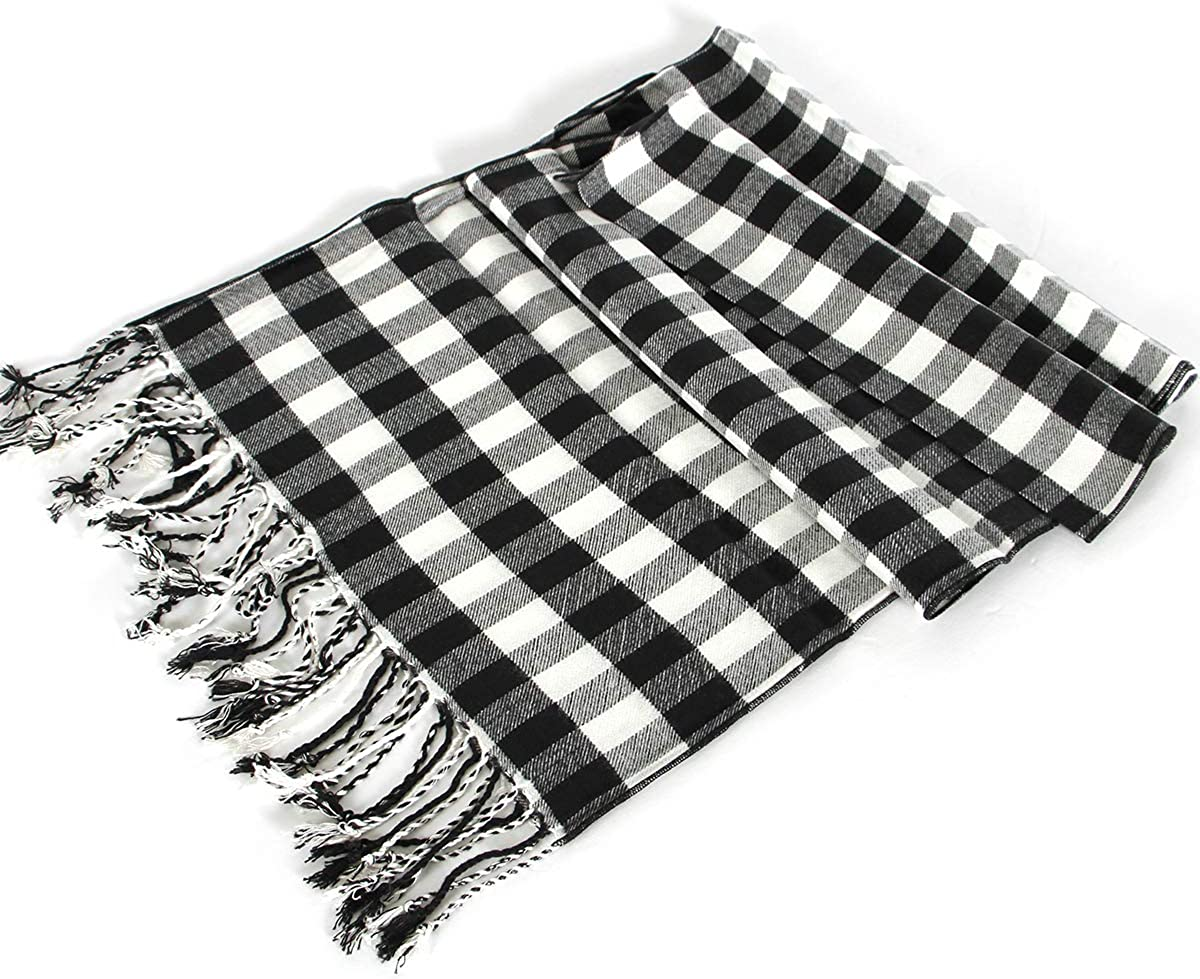 Premium Soft Silk Viscose Scarf for Women Gift Box Plaid Lightweight Fashion Scarves for Unisex Cashmere Feel Mother's Day