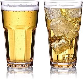 MICHLEY Irrompible Vasos de Cerveza, Copas para degustación de Zumo de Frutas, 100% Tritan Plástico Vasos de Agua, Libres de BPA, Aptos para Lavavajillas 350 ML Set de 2