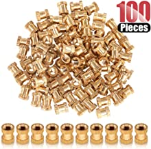 Hilitchi 100 Pcs Female Thread Brass Knurled Threaded Insert Embedment Nuts, Embed Parts, Pressed Fit into Holes for 3D Prints and More Projects (M3x6mmx5mm)