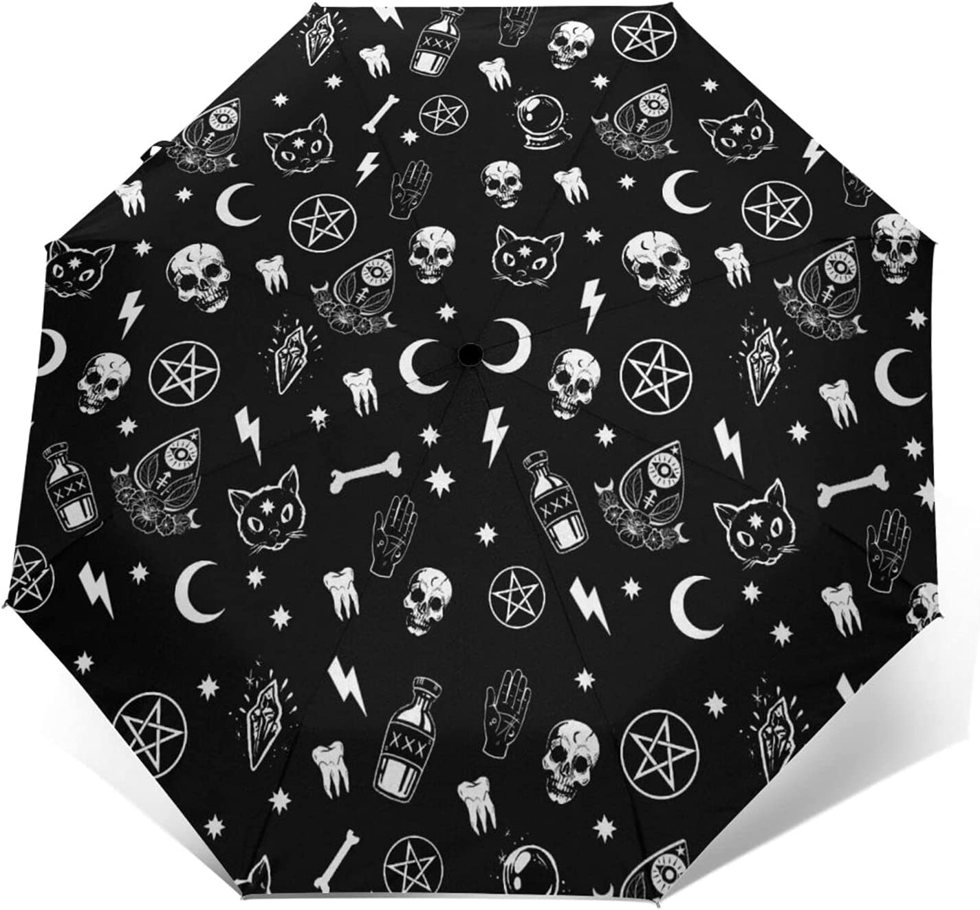 SWEET TANG Gothic Trippy Moon Skull Trave Over item handling ☆ Max 45% OFF Cat Pattern Black Bone