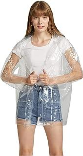 Krespuka Women Transparent Raincoat EVA Waterproof Rain Jacket Coat with DetachableHood
